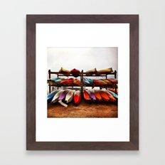 Kayaks At Rest Framed Art Print