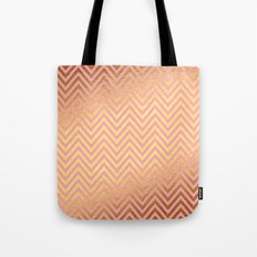 Chevron pattern rosegold Tote Bag