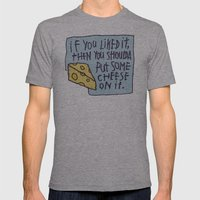 Cheese On It Mens Fitted Tee Athletic Grey SMALL