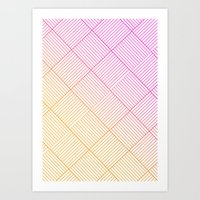 Woven Diamonds in Pink and Orange Art Print