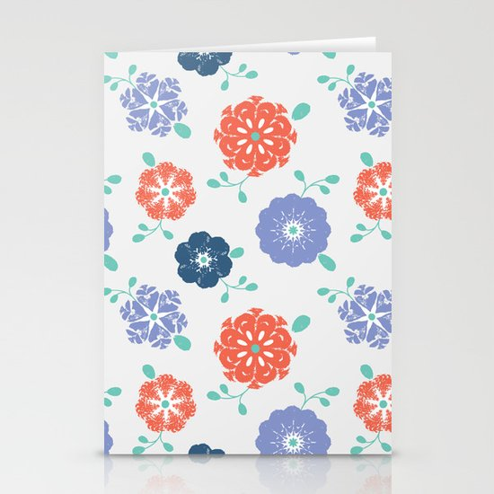 Block Print Flowers Stationery Card