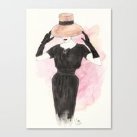 'Audrey' Watercolor Fashion Illustration Canvas Print