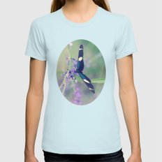 Blue Garden Butterfly Womens Fitted Tee Light Blue SMALL