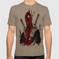 Deadpool Mens Fitted Tee Tri-Coffee SMALL