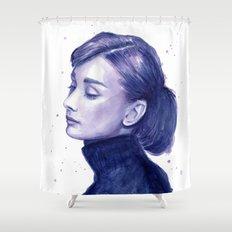 Audrey Hepburn Watercolor Portrait Shower Curtain