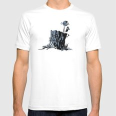 Blue Birds Mens Fitted Tee White SMALL