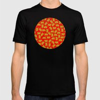 Happy green bugs on red. Mens Fitted Tee Black SMALL