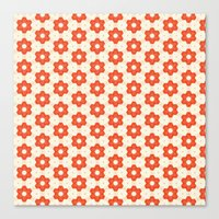 Retro Red Flower Canvas Print