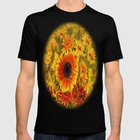 SUNFLOWERS Mens Fitted Tee Black SMALL