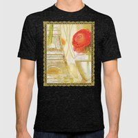Doré -- Gilded Still Life with Red Ranunculus and Collage Effects Mens Fitted Tee Tri-Black SMALL