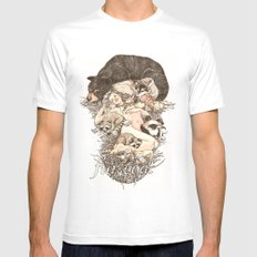Fur Coat White Mens Fitted Tee SMALL