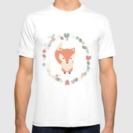 Baby Fox Pattern 02 Mens Fitted Tee White SMALL