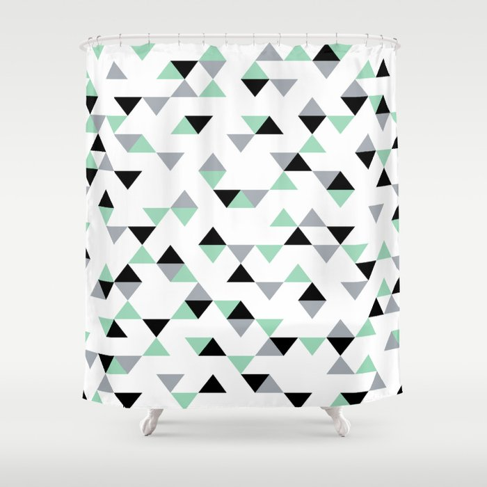 Triangles Mint Grey Shower Curtain By Project M Society6