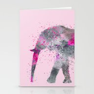 Crazy Pink Elephant Stationery Cards