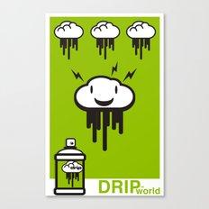 Drip World Green Canvas Print