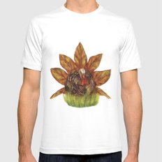 Gobble Gobble Autumn White SMALL Mens Fitted Tee