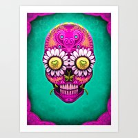 sugar skull Art Prints featuring Sugar Skull by Mr Grin