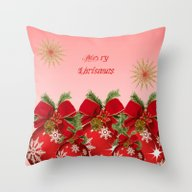 Merry Christmas - Red Throw Pillow