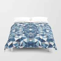 Abstract Collide Blues Duvet Cover