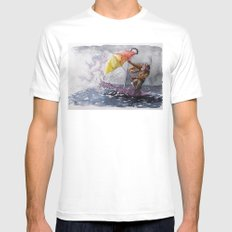 Umbrella Man SMALL White Mens Fitted Tee