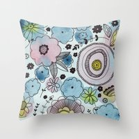 Blue and purple flowers Throw Pillow