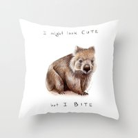 I Might Look Cute, But I… Throw Pillow