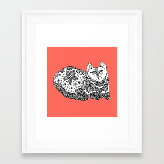 peach cat Framed Art Print
