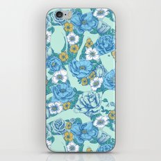 Weapon Floral-Blue iPhone & iPod Skin