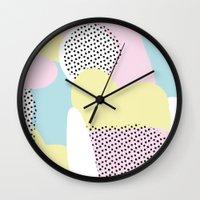 Candy Pink Blue Blobs & Dots Pattern Wall Clock