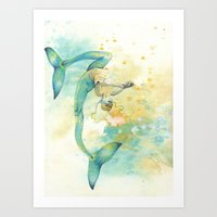 Two-tailed Mermaid Art Print