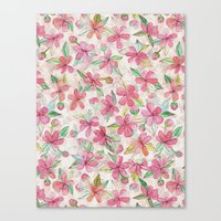 Pink Painted Blossom Pattern Canvas Print
