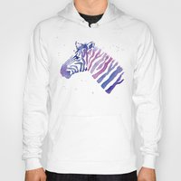 Zebra Watercolor Purple Stripes Hoody
