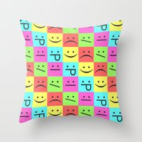 Smiley Chess Board Throw Pillow