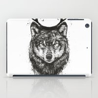 Deer wolf (b&w) iPad Case