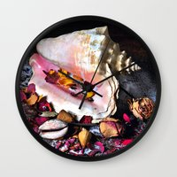 Maritime Symphony  with Sea Shells and Roses Wall Clock