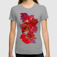Inky Tulips Black Womens Fitted Tee Tri-Grey SMALL