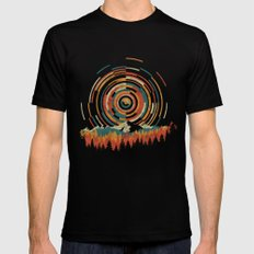 The Geometry of Sunrise Black Mens Fitted Tee SMALL
