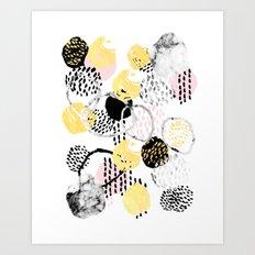 Amalia - gold abstract black and white glitter foil art print texture ink brushstroke modern minimal Art Print