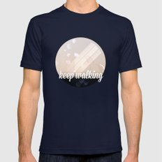 Keep Walking Mens Fitted Tee Navy SMALL
