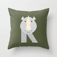 Letter R // Animal Alphabet // Rhino Throw Pillow