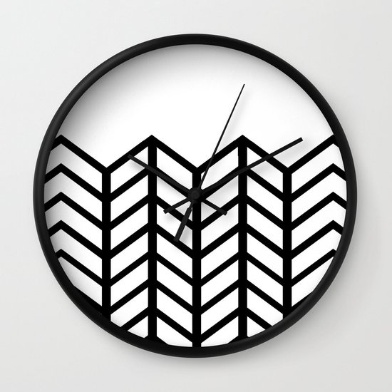 BLACK & WHITE LACE CHEVRON Wall Clock