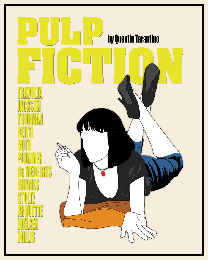 Pulp Fiction Minimalist Movie Poster Art Print By Finlay