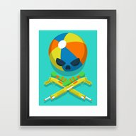 Framed Art Print featuring Beach Bones by Vectored Life