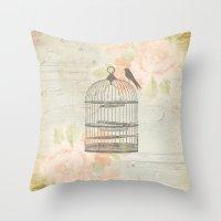 Rustic Birdcage Throw Pillow