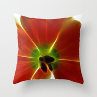 Fractal Tulip Throw Pillow