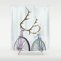Bicycles in Love Shower Curtain