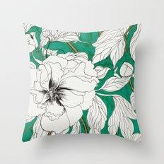 Green Peonies Throw Pillow
