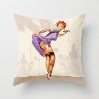 Redhead Pin-up Throw Pillow