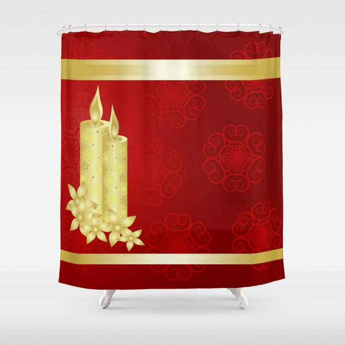 Elegant Gold Candles On Rich Red Background Shower Curtain By Wendy Townrow