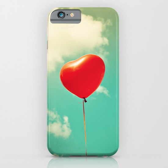 Red Heart Balloon in a Vintage Turquoise Sky  iPhone & iPod Case